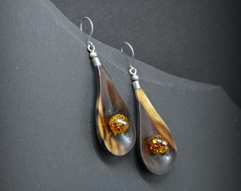 Artisan gemstone earrings, wood handmade statement Baltic amber woodland inspired jewelry for wife, mangrove wood geometric earrings