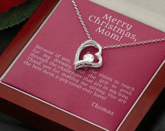 Heart necklace for mom, personalized quote gift to loved mother, neverending love present from son, thank you & I love you message card
