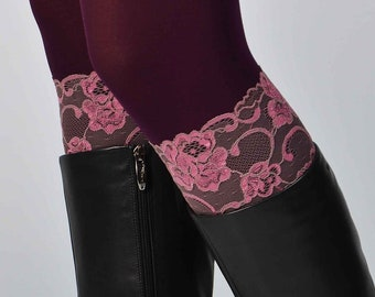 """Pink lace boot cuffs, rose flower lace pattern leg warmers, sheer stretch lace, leg warmer, knee high trim sock, 7"""" tall, ready to ship"""