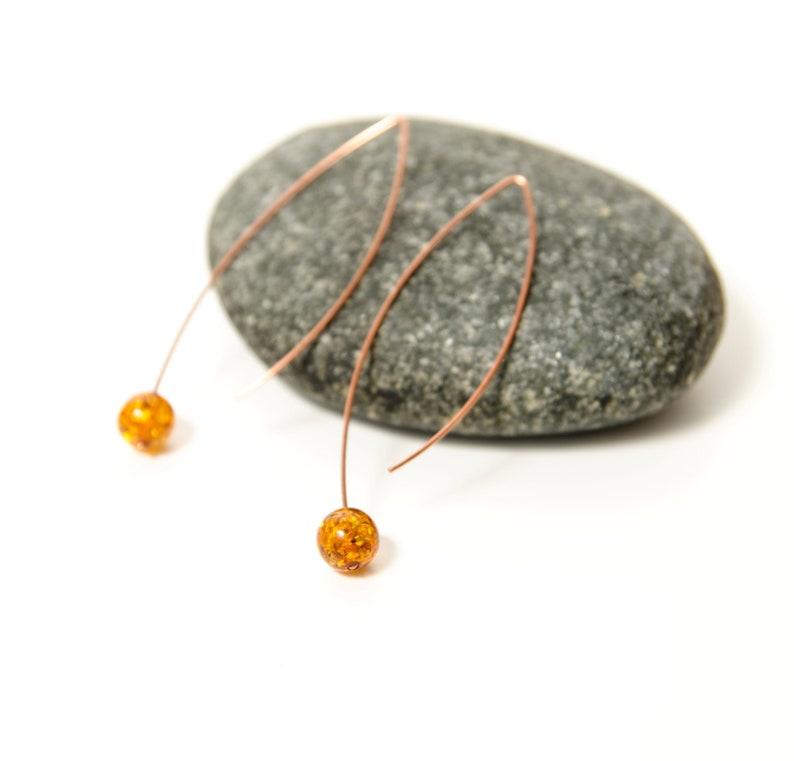 girlfriend long earrings gift for women Baltic amber thread earrings with copper wife geometric open modern edgy hoops mom