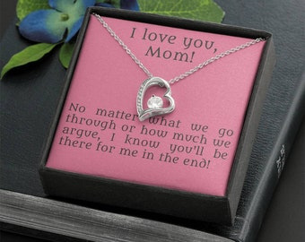 Heart necklace for mom, personalized quote gift to loved mother, neverending love present from kids, thank you & I love you message card