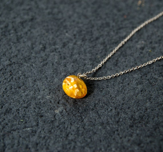 Handmade amber necklace from milky yellow amber beads Natural amber jewellery for her Elegant necklace from natural Baltic amber