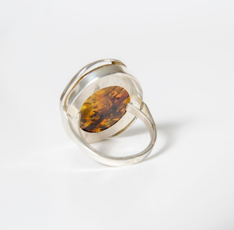 Amber ring with silver frame large genuine gemstone for her birthday gift size US 10 34
