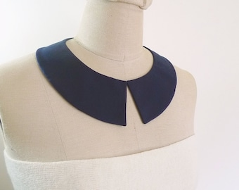 Peter Pan Collar Detachable Collar, Deep blue collar necklace