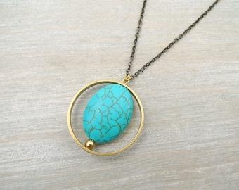 Long necklace, Long Turquoise necklace, Turquoise and raw brass necklace, Long geometric necklace, Circle pendant