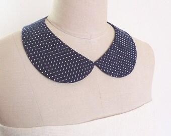 PeterPan Collar, Navy blue with Tiny White Polka Dot Cotton Collar, detachable collar