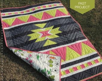 "Arid Star - Modern Quilt Pattern 40 x 60"" Crib or Throw Size Quilt"