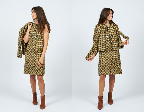 Vintage 60s Plaid Wool Two Piece Dress and Jacket