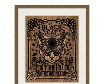 Black Cat Fortune Teller - Signed Art Print