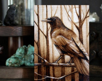 "The Visitor - 5"" x 7"" Postcard Print - Raven Crow Art"