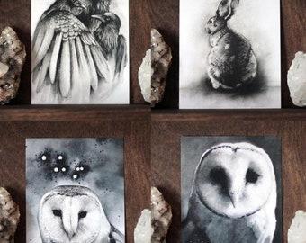 Spirit Animal Postcard Prints - Your Choice - Owl, Rabbit, Ravens