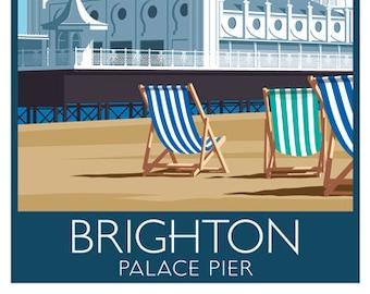 BRIGHTON. Art print, Travel Poster of Palace Pier, Brighton. A4, A3, A2. Art Deco, Retro style