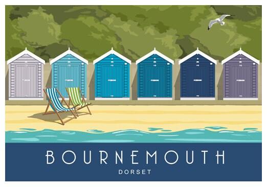 Beach Capanne hengistbury HEAD Bournemouth Christchurch Dorset UK Fotografia Stampa