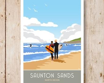 Saunton Sands Surfers, North Devon. Travel Poster A4, A3, A2, A1 Three views