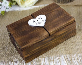 Rustic Wedding Ring Box,  Wood Ring Bearer Box, Barn Wood, Wedding Ring Bearer for Mr and Mrs, Engagement Ring Box, Ring Pillow Alternative
