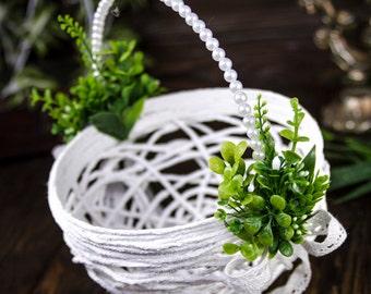 Green Flower Girl Basket, Greenery Wedding Basket, Floral Girl Basket, Lush Flower Basket, Flower Girl Bag, Lace Basket Rustic Flower Basket