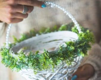 Greenery Flower Girl Basket, Green Wedding Basket, Floral Girl Basket, Lush Flower Basket, Flower Girl Bag, Lace Basket Rustic Flower Basket