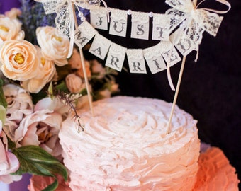 SMALL Lace Just Married Wedding Cake Topper Banner with pearls and bows