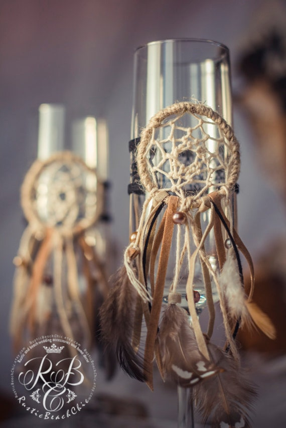 Native American Wedding Champagne Flutes Dream Catcher Wedding Etsy