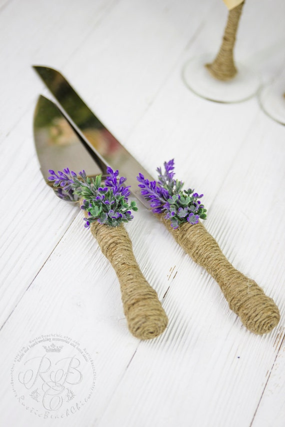 Rustikale Tortenheber Set Lavendel Hochzeitstorte Heber Etsy