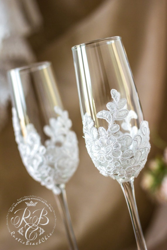 Wedding Champagne Flutes Vintage Wedding Glasses Lace Etsy