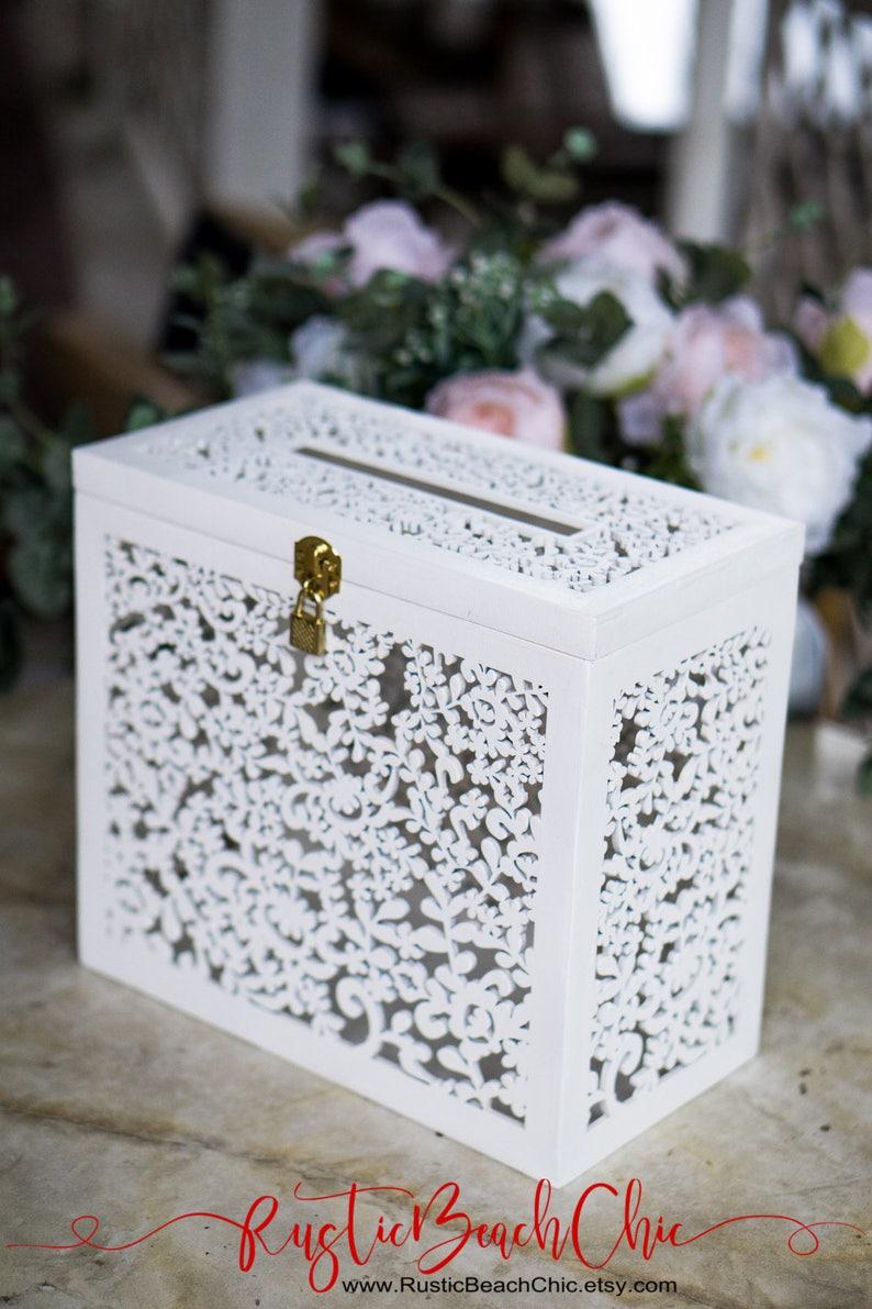 Wedding Card Box With Slot Card Box With Lock White Wedding Etsy