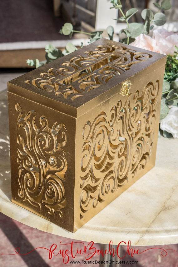 Gold Wedding Card Box With Lock Slot Wedding Decor Wedding Etsy