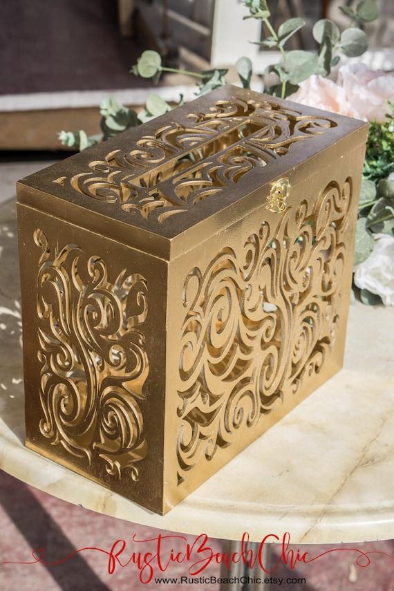 Gold Wedding Card Box With Lock Slot Wedding Decor Wedding Etsy