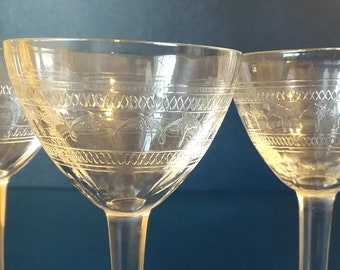 3 Antique Art Nouveau Crystal Cordial Liquor Stemware Purchased in Florence Italy Art Nouveau Moth and Geometric Pattern Design Delicate