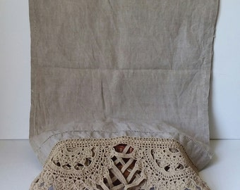 "Flax Linen Table Runner with Handmade Lace and Tassels 60"" long x 16.5"" wide ESTATE SALE"