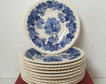10 Spode Copeland England Old Salem Saucers 1950's Era REPLACEMENT Pieces