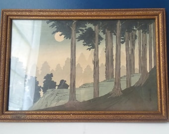 Nocturne Japanese Woodblock Print-1920's-Antique-Original Frame-Shin-hanga-For the Collector
