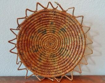 VTG Native American Coiled Shallow Wedding Basket Boho Home Decor Rustic Decor Wall Hanging