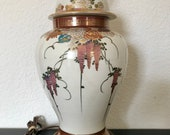 Satsuma Ginger Jar Lamp Wisteria Chrysanthemum Flowers Hand Painted 24 quot total height 24.5 quot around widest part