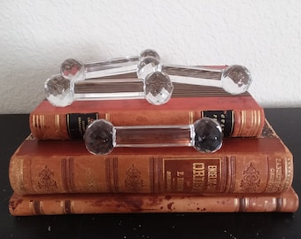 "4 BarBell Shaped Clear Glass Knife Rests 6 Sided Stars on Ends 4"" long Vintage Dining Entertianing"