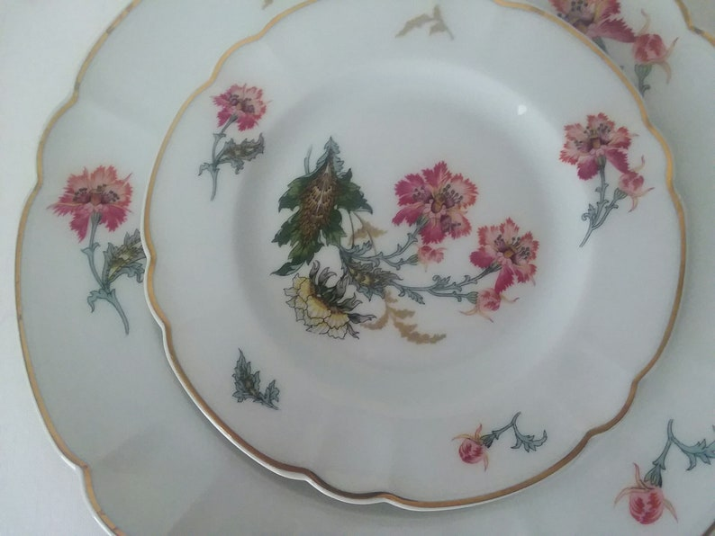 Field Haviland Limoges Chinese Thistle-Ch NOS 4 Piece Dinnerset Pristine Condition