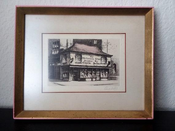 modische Muster großer Verkauf neuartiges Design 1940's 50's- Signed Cecil Forbes Etching- Old Curiosity Shop-Dickens Old  Curiosity Shop-London-Original Pink Gold Wood Frame