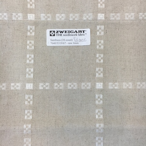Zweigart Sambuca Raw Linen 28 Count Cross Stitch Fabric Table Runner or Table Topper RARE Natural Linen Stitch a design or use as is!