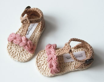 KORA Boho Baby Girl Sandals, Natural Summer Baby Shoes, Crochet Baby Girl Shoes, Made to Order in Sizes: 0-3,3-6,6-9 months