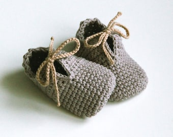 OLAF, Gray Cotton Booties, Baby Shoes,Neutral Baby Slippers,Tied Baby Shoes, Sizes 0-3, 3-6, 6-9 months, Made to Order