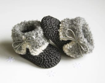 BRUNO Charcoal Baby Boots,Gray Fur Baby Shoes, Crochet Baby Shoes, Winter Baby Booties, Christmas Baby Gift, Size 0-3 months, Ready to Ship