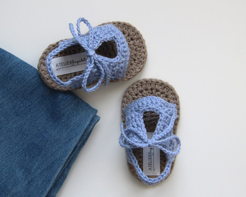 SALE!!! CECIL Crochet Baby Sandals, Baby Boy Shoes, Light Blue Jeans, Cotton , Size 0 3, 3 6 months, Ready to Ship