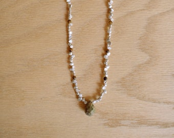 p e n n y . Beaded necklace. Unakite stone focal with petal pearls and tiger eye. Pretty, feminine, spring necklace. Natural, boho jewelry.