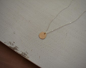 l u c y . Gold moon necklace. Textured 14k gold filled disc on dainty sterling silver chain. Minimalist mixed metal necklace.