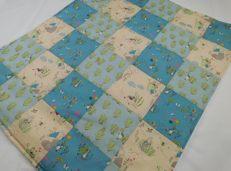 Peter Rabbit Green Blue 30 Cotton Fabric Patchwork Squares Quilting Craft