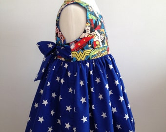 Girls Superhero Dress made from Wonder Woman Fabric. Age 1-7 Years. Made To Order.