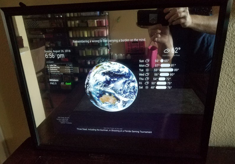 22 HD Display in a 16 X 20 X 2.5 Black Frame Google Assistant Smart Mirror Additional Options Available