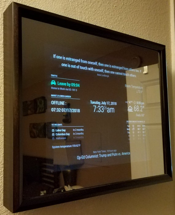 32 HD Display in a 24 X 30 X 2.5 Black Frame Google Assistant or Alexa and Additional Options Available Smart Mirror