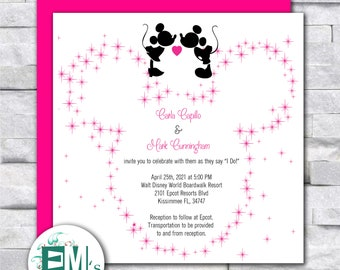 Disney Wedding Invitation - Personalized, Mickey & Minnie, Pink, Black, RSVP, Place Cards, Menus, Seating Chart, Cute, Fun, Detailed Card