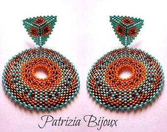 Africa - Boucles d'oreilles tutorielles peyote perles circulaires - Rocailles et Delica Miyuki cuivre, orange et turquoise